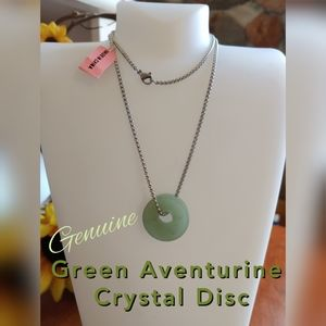 Jewelry - Green Aventurine Crystal Disc Necklace